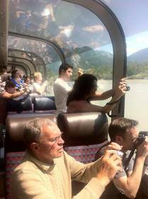 Jasper tourists from VIA's Canadian train (Val Howes).jpg
