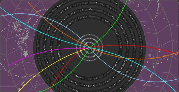 Image shows particle tracks as protons collided in CERN's Large Hadron Collider (Dec. 2009) (AP Photo/CERN)