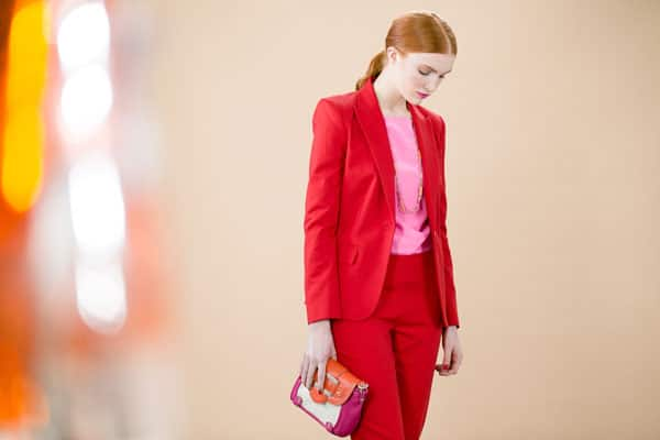 The red suit is this season's hottest look. Don't be afraid to pair reds with pinks, the combination creates a bold sophisticated look.
