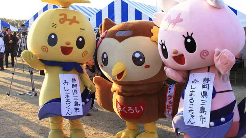Three kawaii mascots