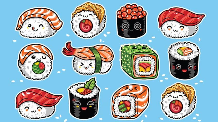Rolls of sushi with cute faces on them