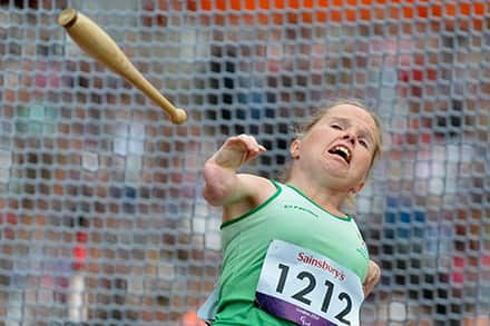 Close-up of an athlete throwing the club