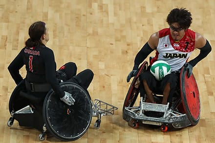the wheelchair on the right has a rounded bumper and is used for offense
