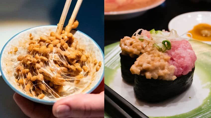 natto on the left and natto sushi on the right