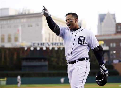 FILE - In this Oct. 18, 2012, file photo, Detroit Tigers' Miguel Cabrera celebrates after hitting a two-run home run during the fourth inning of Game 4 of baseball's American League championship series against the New York Yankees in Detroit. Cabrera beat out Pittsburgh Pirates center fielder Andrew McCutchen and Los Angeles Angels rookie Mike Trout for the Players Choice Award as voted on by his fellow major leaguers. 'It makes you feel proud and makes you feel like you've got to work harder, you've got to work to get better,' the 29-year-old third baseman said Monday, Nov. 5. (AP Photo/Matt Slocum, File)