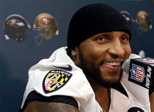 Baltimore Ravens linebacker Ray Lewis speaks at an NFL Super Bowl XLVII news conference on Thursday, Jan. 31, 2013, in New Orleans. The Ravens face the San Francisco 49ers in Super Bowl XLVII on Sunday, Feb. 3. (AP Photo/Patrick Semansky)