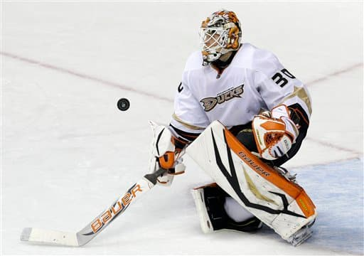 Anaheim Ducks goalie Viktor Fasth, of Sweden, blocks a shot against the Nashville Predators in the third period of an NHL hockey game Saturday, Feb. 16, 2013, in Nashville, Tenn. The Ducks won 3-2 in a shootout. (AP Photo/Mark Humphrey)