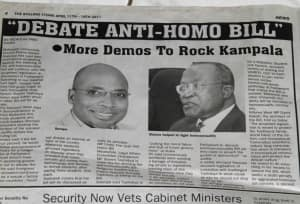 Page from a Kampala newspaper in April, discussing the proposed anti-gay ...