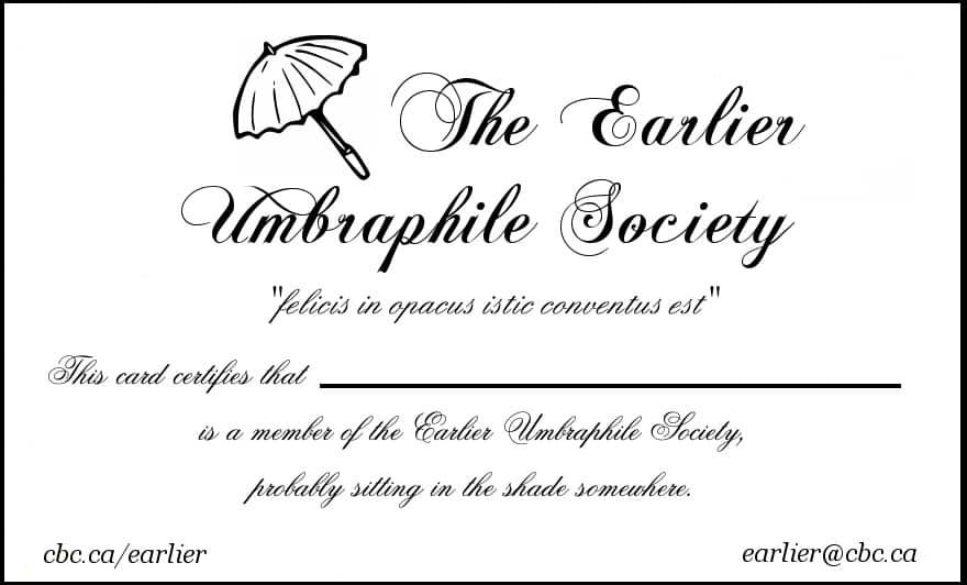 The Earlier Umbraphile Society