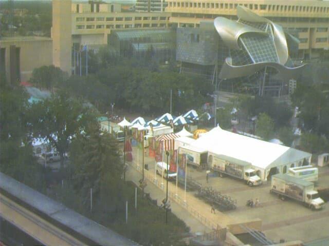 CBC Edmonton Studio webcam overlooking Churchill Sqaure in fron of city hall.