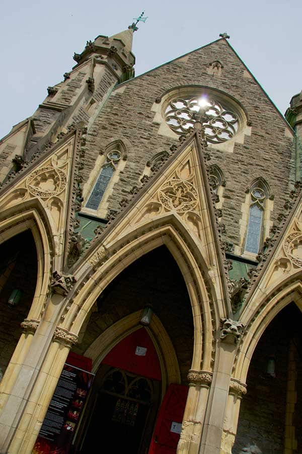 front close up of Montreal's St. Patrick's Basilica