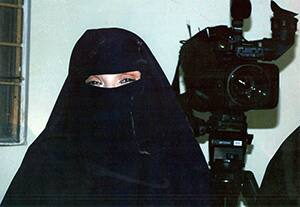 Beverly Geisbrecht wearing a burqa