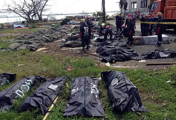 body bags on the ground