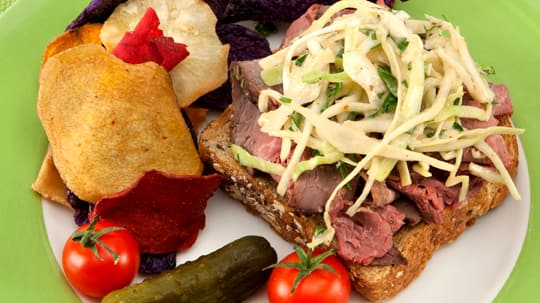 Open-Faced Roast Beef Sandwiches with Horseradish Coleslaw ...