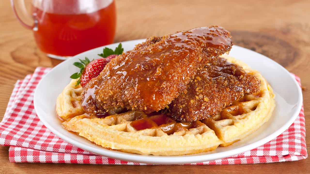 Chicken and Waffles with Spicy Maple Syrup - CBC Life