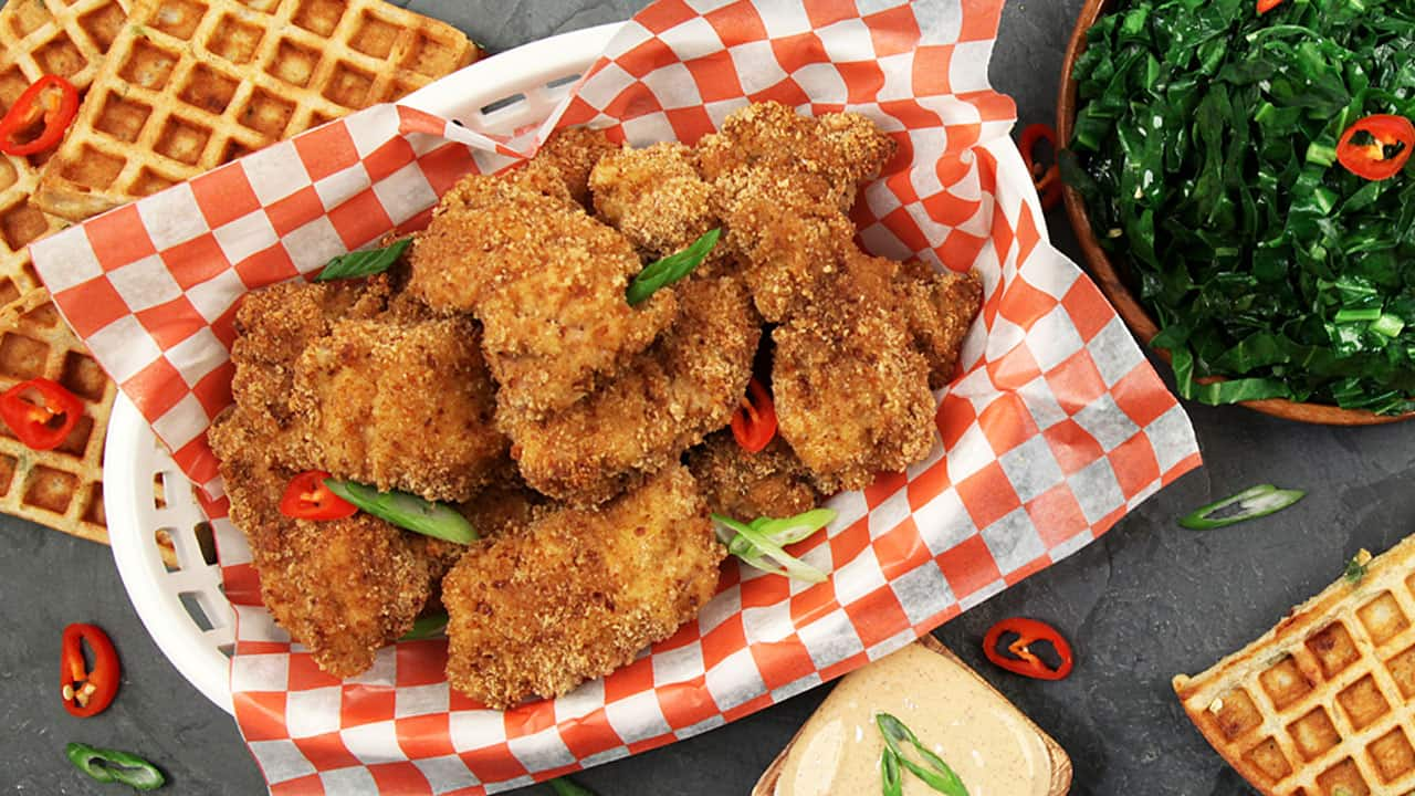 Recipe chicken and waffles with sauteed collard greens cbc life recipe chicken and waffles with sauteed collard greens forumfinder Image collections