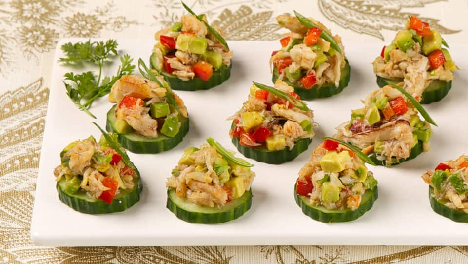 Crab and avocado canapes cbc life for Canape with ingredients