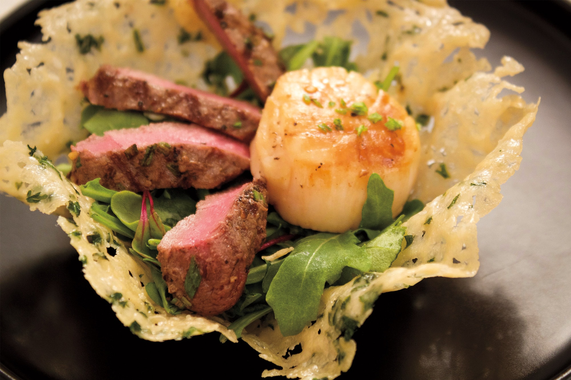 Recipe: Elk and Sea Scallops in a Parmesan Cup with Chili Lime Vinaigrette