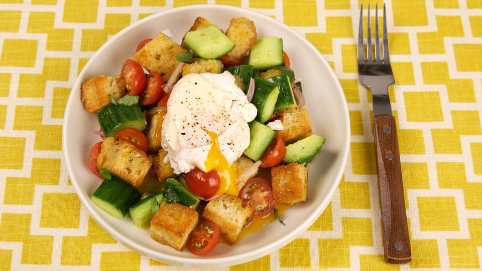 Panzanella Salad with Poached Eggs