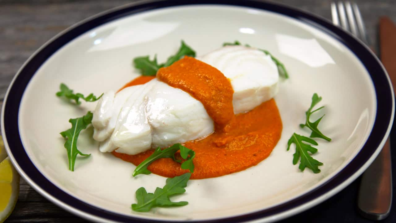 Recipe: Poached Fish with Romesco Sauce