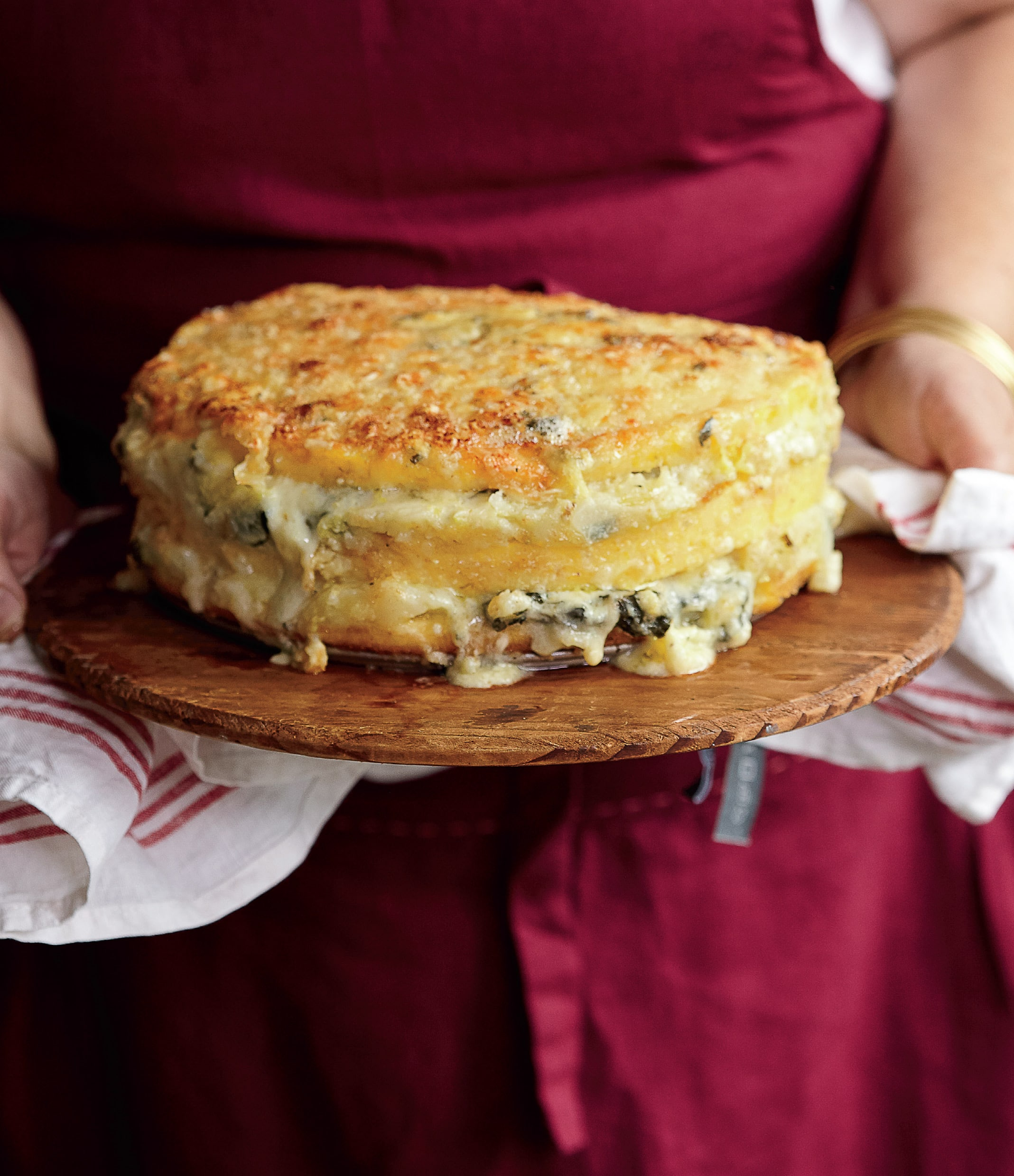 Recipe: Lidia Bastianich's Polenta Torta with Gorgonzola and Savoy Cabbage