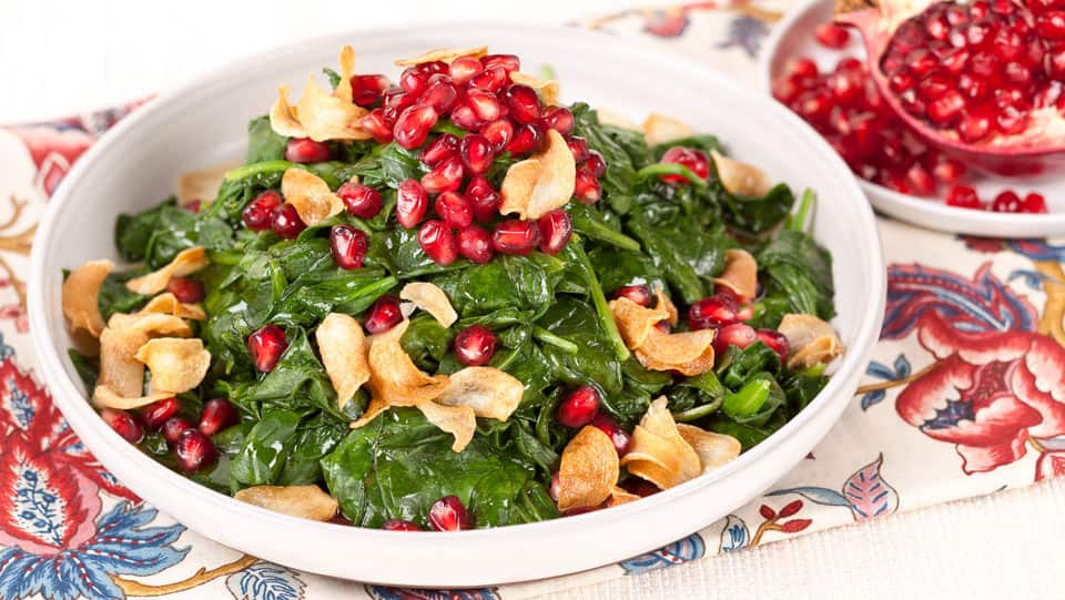Pomegranate Spinach With Garlic Chips