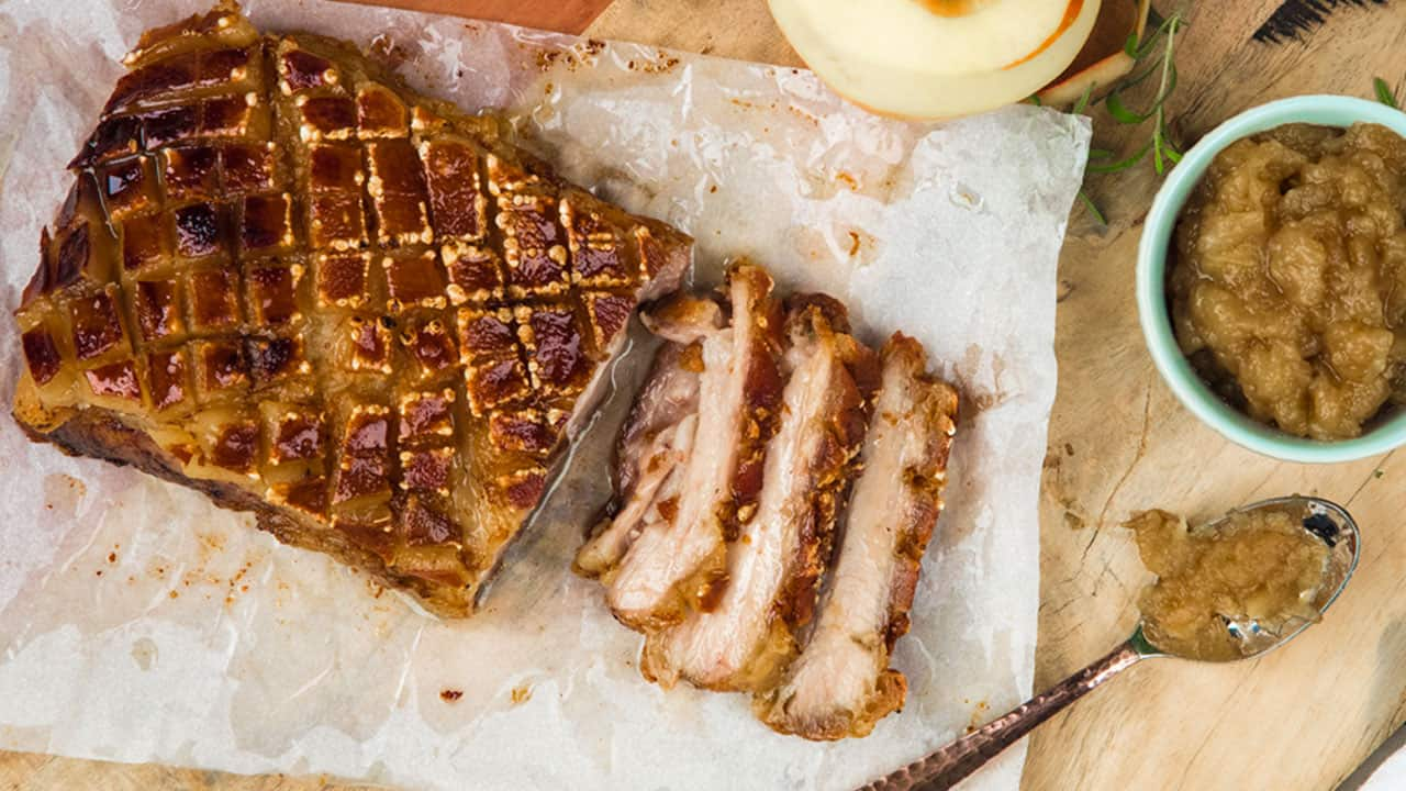 Recipe: Curtis Stone's Pork Belly Roast with Apple Compote