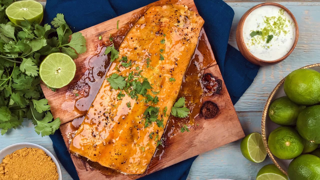 Recipe: Honey Curry Salmon Plank with Coconut Sauce - CBC Life
