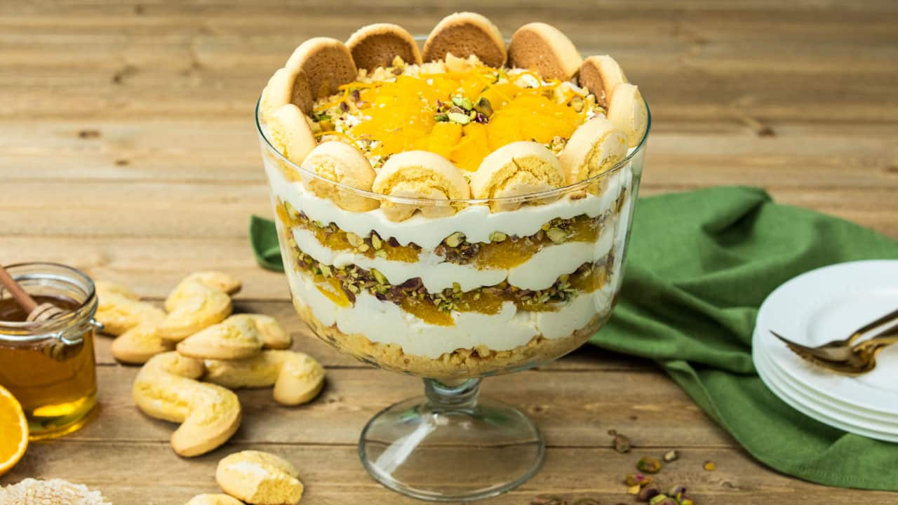 Recipe: No Bake Orange, Honey & Pistachio Trifle