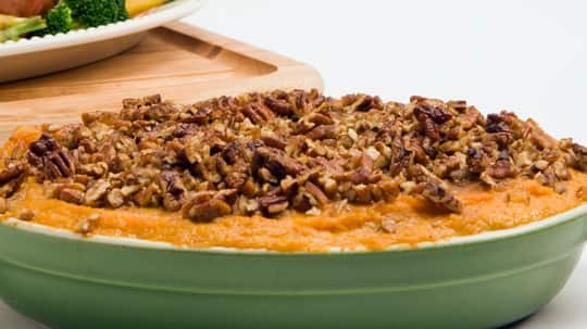 Whipped Sweet Potatoes with Maple Pecan Topping