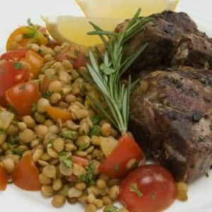 Rosemary Lambchops with Lentil Salad