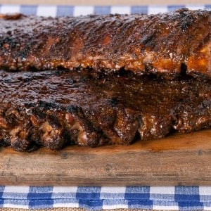 Spiced Baby Back Ribs with Rhubarb BBQ Sauce