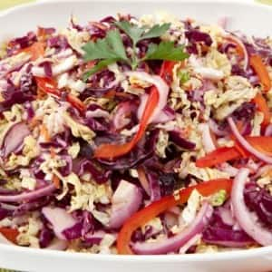 Napa and Red Cabbage Coleslaw