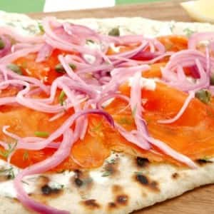 Smoked Salmon Pizza with Marinated Onion
