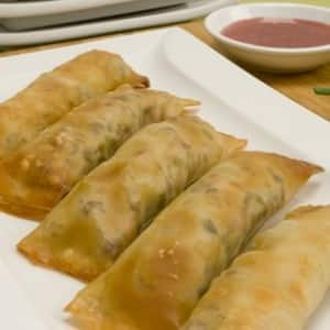 Baked Egg Rolls with Chinese Plum Sauce