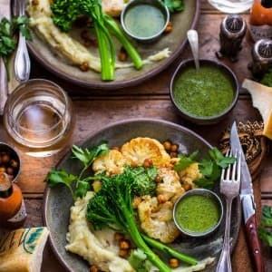 Recipe: Cauliflower Steak with Crispy Chickpeas and Broccolini