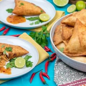 Recipe: Cheesy Bean Burrito Samosas