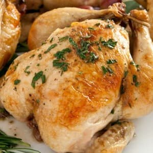 Recipe: Roasted Cornish Hens with Chestnut Stuffing and Port Reduction