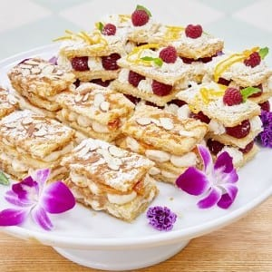 Mille Feuille Two Ways: Nectarine Cardamom and Raspberry White Chocolate