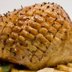 Pineapple-Mustard Glazed Ham with Caramelized Pineapple