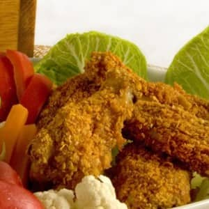 Nacho Wings with Guacamole Dip and Crudites