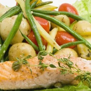 Oven-Poached Salmon Salad with Mustard Vinaigrette