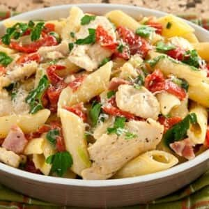Recipe: Chicken Penne with Roasted Peppers and Mascarpone