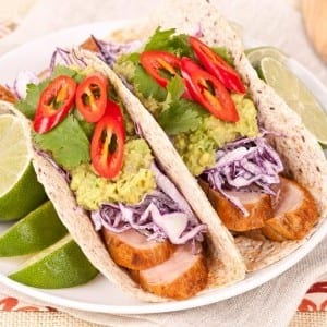 Pork Tacos With Red Cabbage Slaw and Guacamole