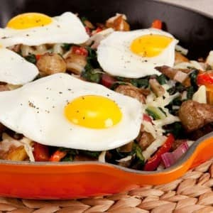 Potato and Chard Hash With Sunny-Side-Up Eggs