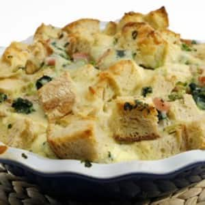 Spinach, Ham and Cheese Strata