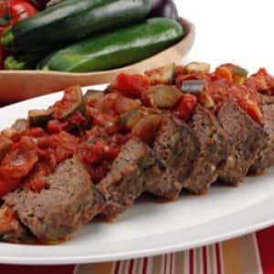 Chili Meat Loaf with Ratatouille Sauce
