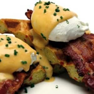 Cheddar and Bacon Cornmeal Waffles Benedict