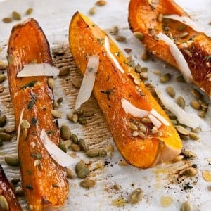 Roasted Butternut Squash with Pecorino and Pumpkin Seeds