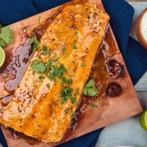 Recipe: Honey Curry Salmon Plank with Coconut Sauce